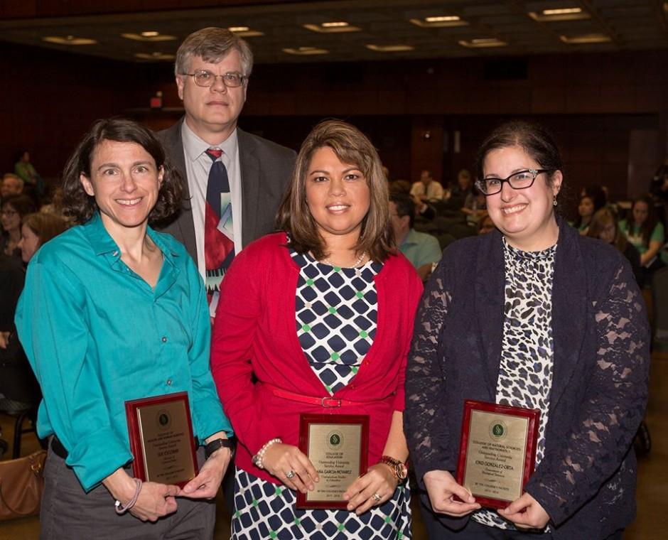Outstanding University Service Award winners, from left, Sue Escobar, Mark Ludwig, Ana Garcia-Nevarez and Enid Gonzalez-Orta (Sacramento State/Rob Neep)