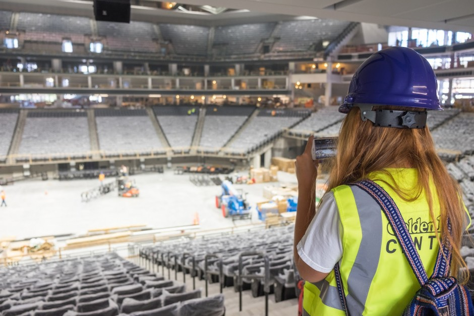 High school students in the Multimedia Journalism Summer Academy tour the new Golden 1 Center under construction in downtown Sacramento.  July 19, 2016 (College of Continuing Education/Morgan Murphy)