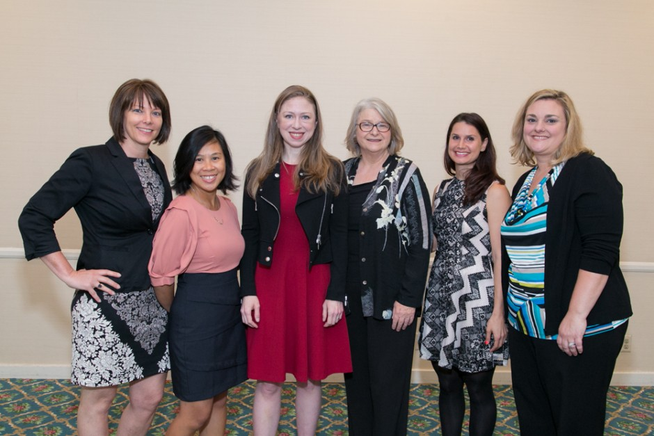 Photo of Chelsea Clinton with CCE's event planners.