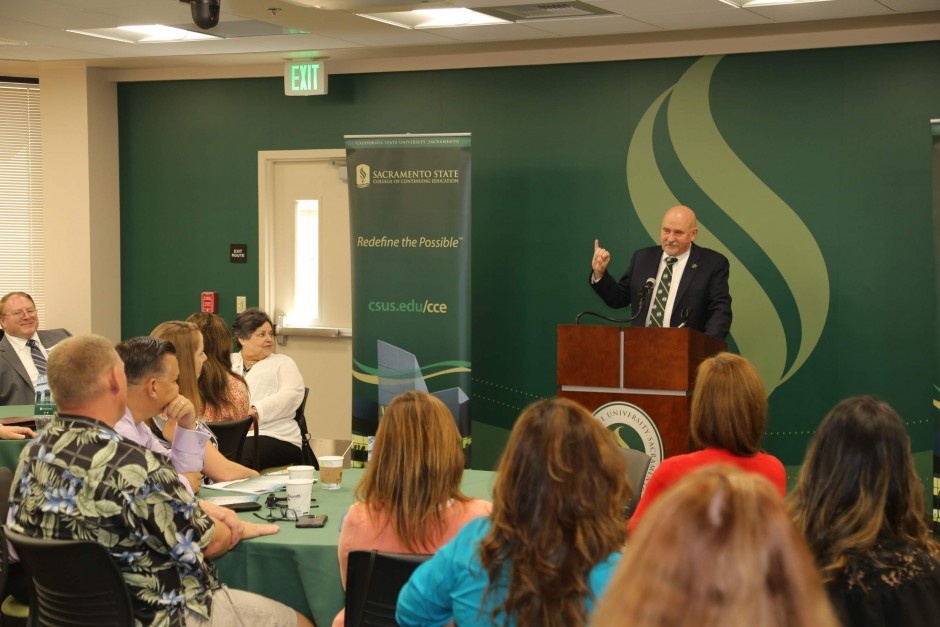President Robert S. Nelsen at the Judicial Administration Graduation and Networking Event 2018 at Sacramento State Downtown