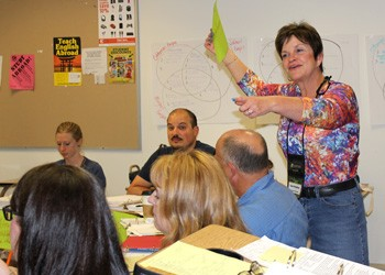 "Kathryn ""Gussie"" Wyndham leads AP* World History workshop at Sacramento State"