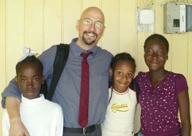 Dr. Vicars with deaf students at the David Rose School in Georgetown, Guyana.