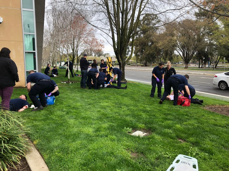 SIMULATIONS: Emergency medical technician (EMT) students practice their rescue skills during mock mass-casualty drills, Sacramento State, March 23, 2019. Photos courtesy of Jill Correll and Becky Gallarda
