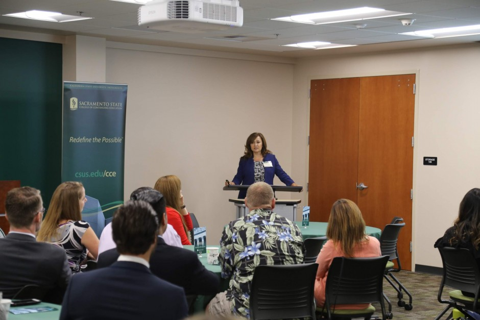 Nora Sanchez, Deputy Chief Operations Officer, Orange County Superior Court, at the Judicial Administration Graduation and Networking Event 2018 at Sacramento State Downtown