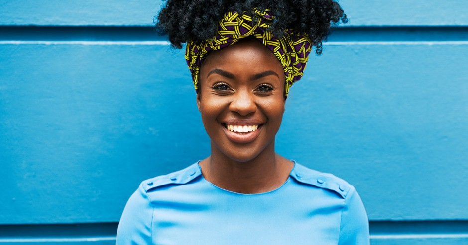 Woman smiling with blue shirt