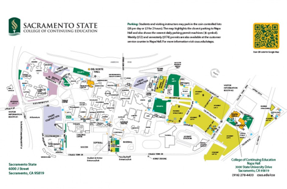 Sacramento State Campus Map Locations and Hours   College of Continuing Education at  Sacramento State Campus Map