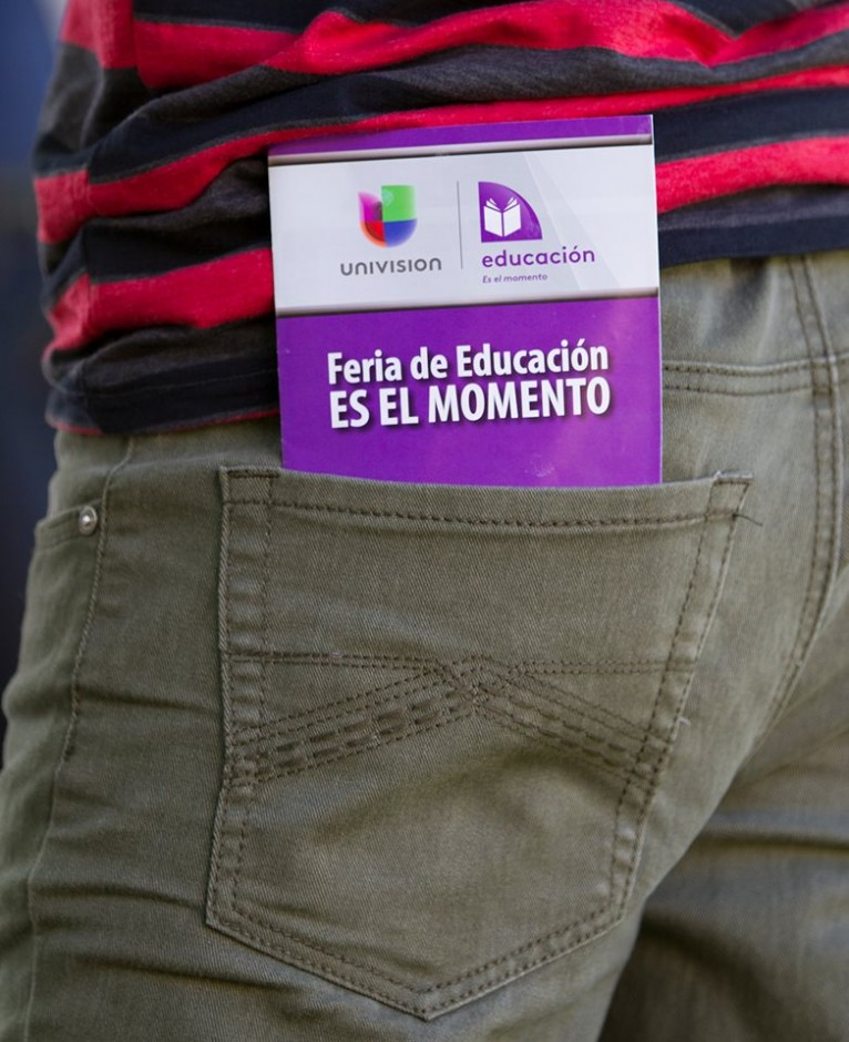 Photo of Feria brochure in student's pocket