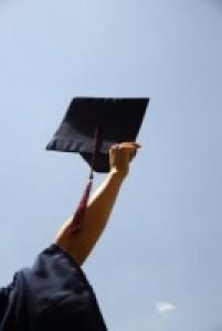 Student holding a graduation cap