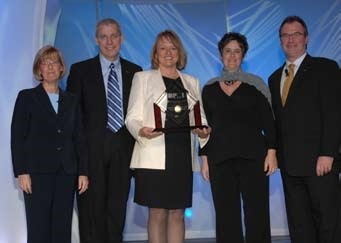 Representatives of Caltrans and CCE accept awards at the PMI Global Congress in Seattle.  From left to right: Linda Vella, Terry Murphy, Jenni Murphy, Kirsten Asher, and Lain Fraser.